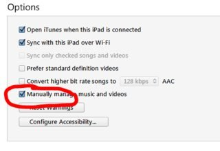 Manually manage music and videos option is checked