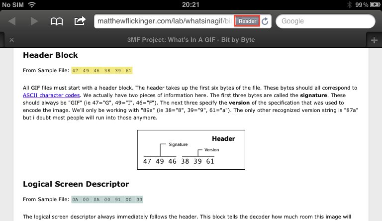 Mobile Safari web browser